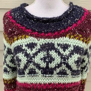 Free People Pullover Sweater Fair Isle XS